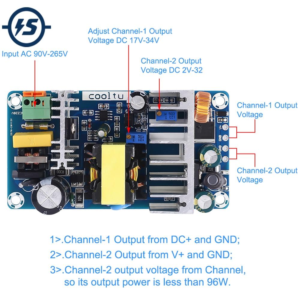 AC-DC Converter Dua Output Isolation Switch Power Supply Module 110V 220V To 12V 24V 36V 100W Adjustable Buck Step Down Module