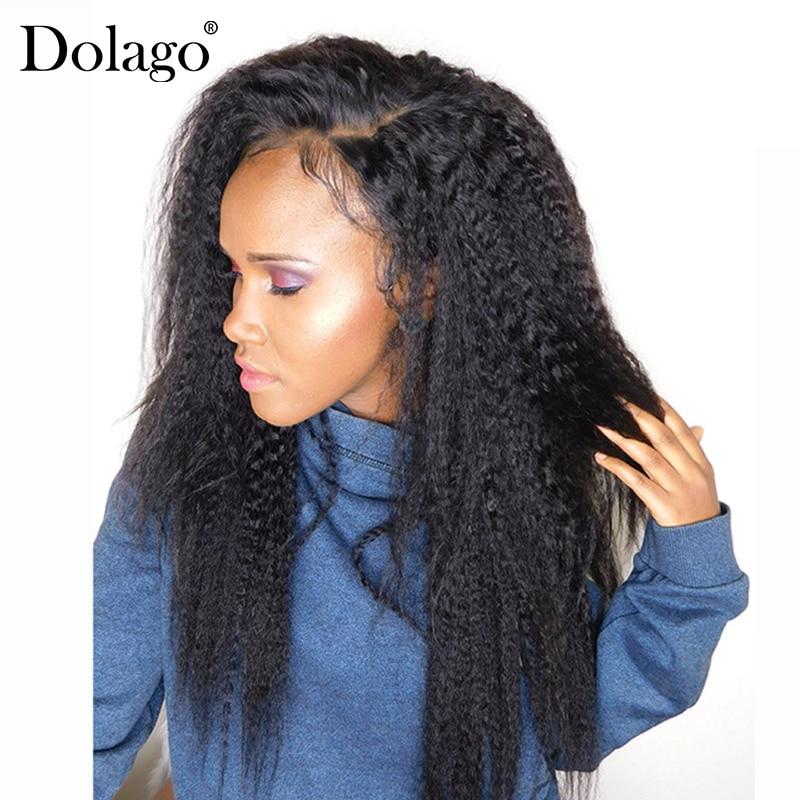 Kinky suora pitsi etuosa sulkeminen 100% ihmisen hiusten sulkeminen Brasilian Remy hiukset 13x4 pitsi Frontals kanssa Baby Hair Dolago
