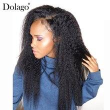 Kinky Straight Lace Frontal Closure 100% Human Hair Closure Brazilian Remy Hair 13x4 Lace Frontals With Baby Hair Dolago