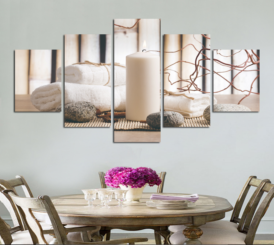 Lowered Selling 5 Panels Canvas Prints Stone Candle Bamboo Wall Art