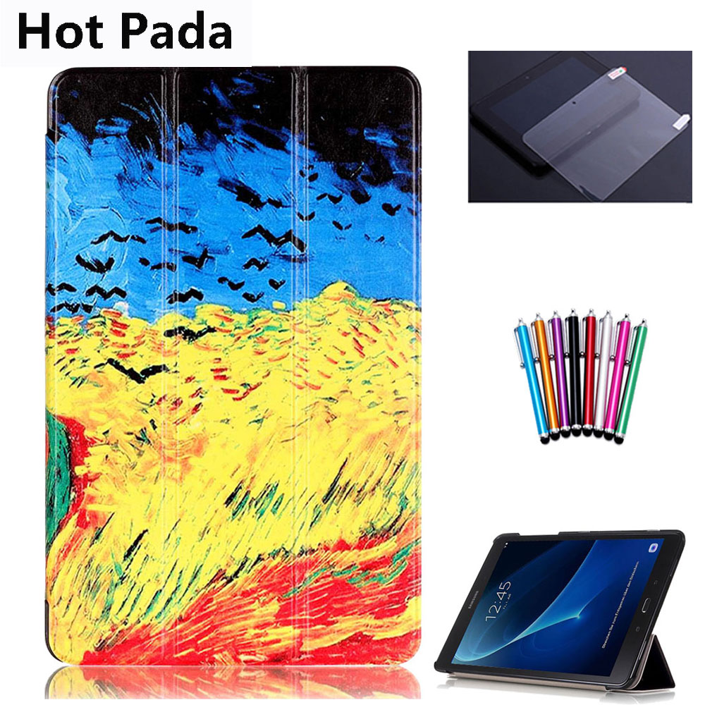 US $10 26 21% OFF Hot Pada T580 T585 Case for samsung galaxy tab A 10 1 SM  T580 SM T585 10 1'' tablet smart PU leather print case+screen protector-in