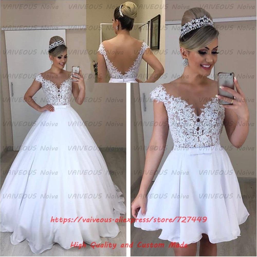 Vestido de Noiva 2 em 1 Cheap Princess Ball Gown 2 in 1 Wedding Dress 2019