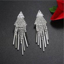 LZX Brand Luxury Crystal Tassel Earring Silver Color CZ Rhinestone Long Drop Earrings For Women Fashion