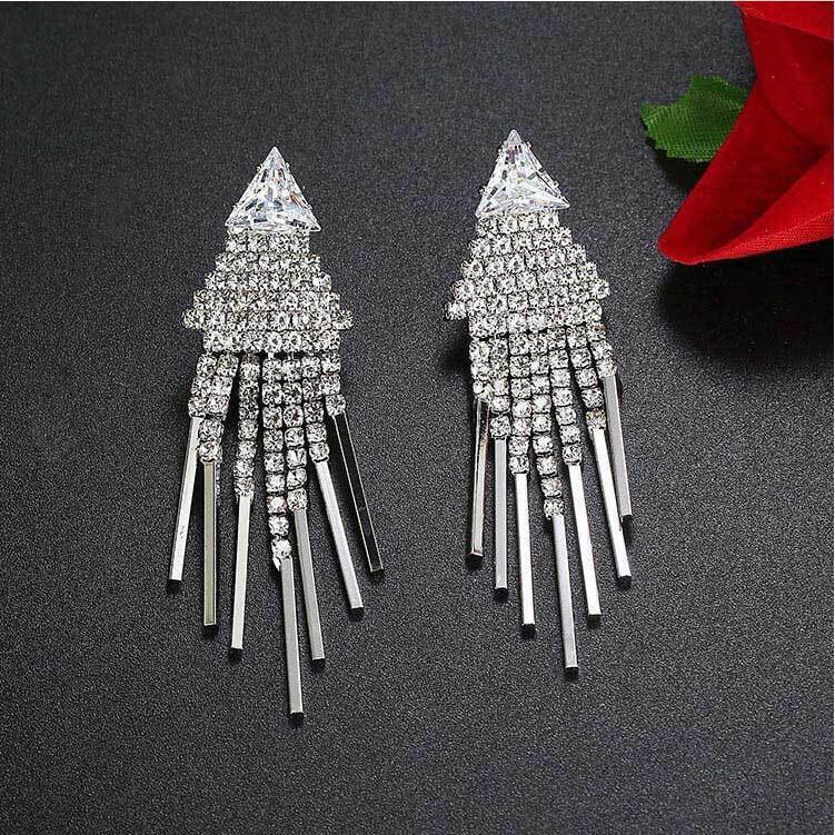 LZX Brand font b Luxury b font font b Crystal b font Tassel Earring Silver Color