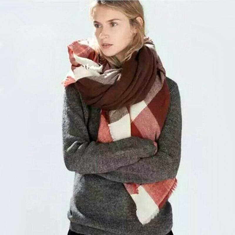 za major Winter Tartan Scarf Plaid Scarf cuadros Ny designer Unisex Akryl Basic Shawls Kvinnor stor storlek täcke Halsdukar