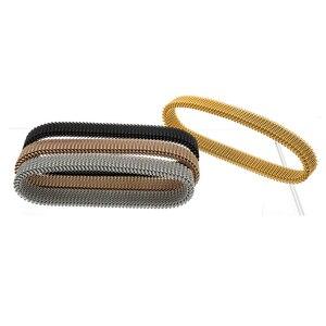 Image 5 - 女性ラウンドローズゴールド弾性ブレスレットカジュアルチャーム柔軟なステンレス鋼の宝石のブレスレット腕輪ギフト卸売卸売