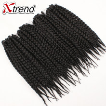 Xtrend Crochet Box Braids Hair 14inch 12roots Synthetic Kanekalon Braiding Fiber Hair Extensions Black Burgundy Heat Resistant(China)