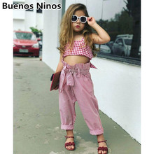 2019 Ins Style Girls Three-piece Set Clothings Children Striped Tank Tops Headbands Vertical  Wide-leg Pants
