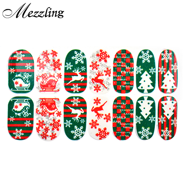 newest christmas nail stickers6sheetslot green tree glitter full cover adhesive nail tips