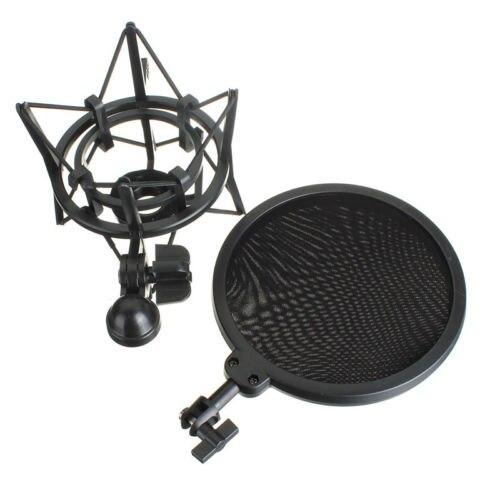 Audio Mic Mikrofon Shock Mount Ständer Halter mit integrierter Pop Filter Scree