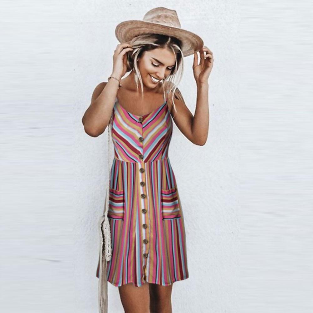 Sexy  Floral Dress Sleeveless Print Flower Casual Beach Dresses Sundress Sling Open Back Female Summer Vestido