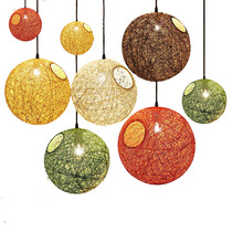 Creative Colorful Rattan lampshade Pendant Lights Retro E27 Spherical lantern Pendant Lamp for Dining Room Restaurant Coffee Bar