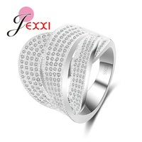 JEXXI Luxury Shinny 925 Sterling Silver Rings For Women Brand Clear CZ Diamond Engagement Party Finger