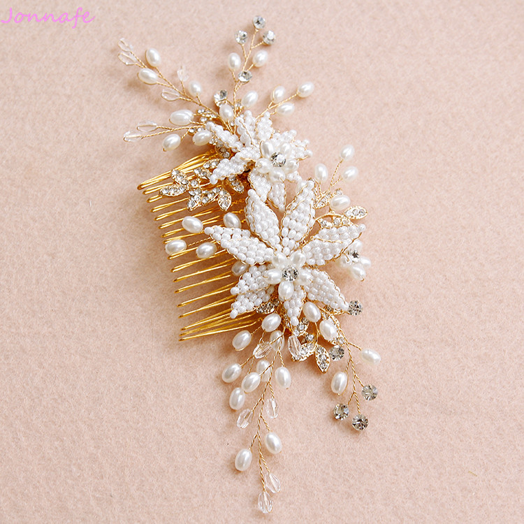 Jonnafe Handmade Pearls Flower Hair Comb Wedding Headpiece Gold Bridal Hair Jewelry Accessories Women Hairpiece jonnafe handmade red flower wedding prom hair clip jewelry gold leaf bridal hair accessories comb headpiece