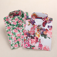 Dioufond Women Shirt Long Sleeve Printed Flowers Blouses Women Plus Size Cotton Female Tops Blusas Feminina Ver O 2017 S-5XL