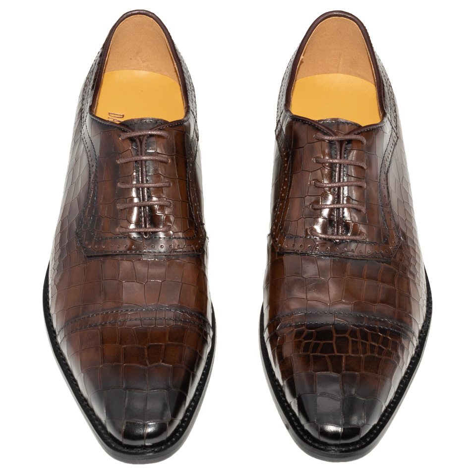Men Dress Oxfords Shoes Genuine Leather Dark Coffee Color Luxury Brand Office Formal Pointed Toe Fashion Plaid Mens Wedding Shoe-in Formal Shoes from Shoes    2