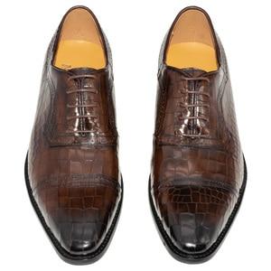 Image 2 - Zapatos Oxford de cuero genuino para hombre, calzado Formal de lujo con punta estrecha, a cuadros, para boda