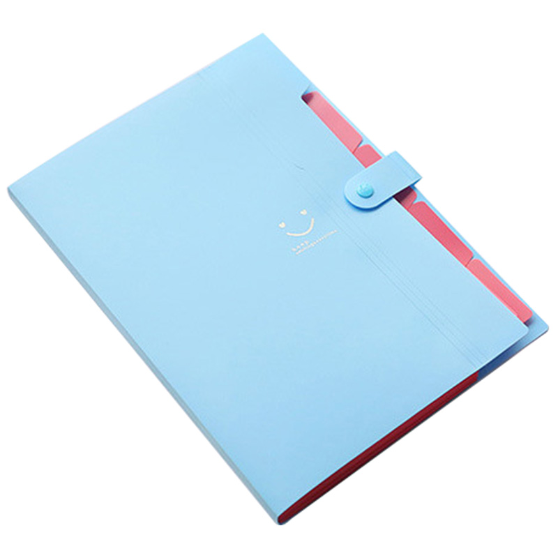 5X Kawaii Sky Blue Folders Stationery Carpeta File Folder 5 layers Archivadores Rings A4 Document Bag Office Carpetas