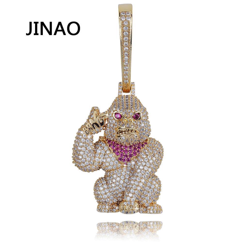 Jinao для хип хопа Новый орангутан Тарзан кулон ожерелье кубическое ожерелье с фианитами со льдом теннисная цепочка подарок для мужчин