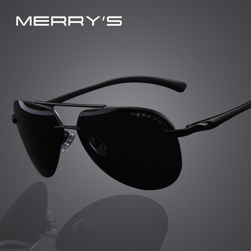 MERRY'S бренд Для мужчин 100% поляризационные Алюминий сплава рама солнцезащитные очки модные Для мужчин вождения солнцезащитные очки S'8281