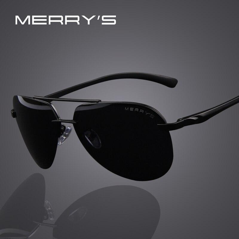 MERRY'S de los hombres de la marca de 100% polarizadas Marco de aleación de aluminio gafas de sol de conducción de los hombres de la moda de gafas de sol S'8281