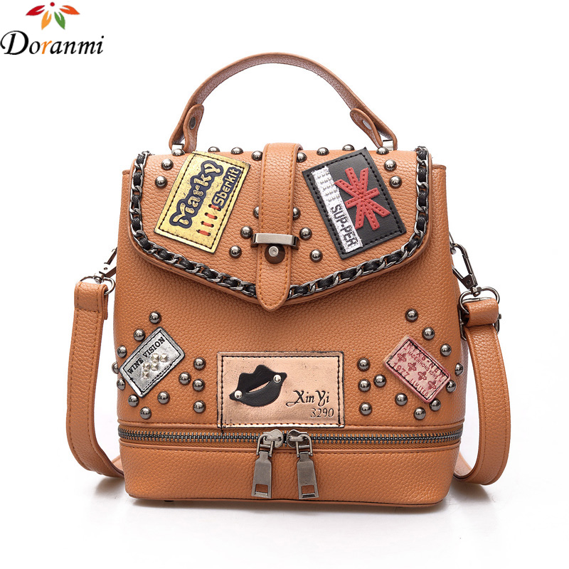 Doranmi Punk Style Rivet Backpack Women Vintage School Bag Luxury Bagpack Small Backpack Pu Leather Quality Mochila Sjb044