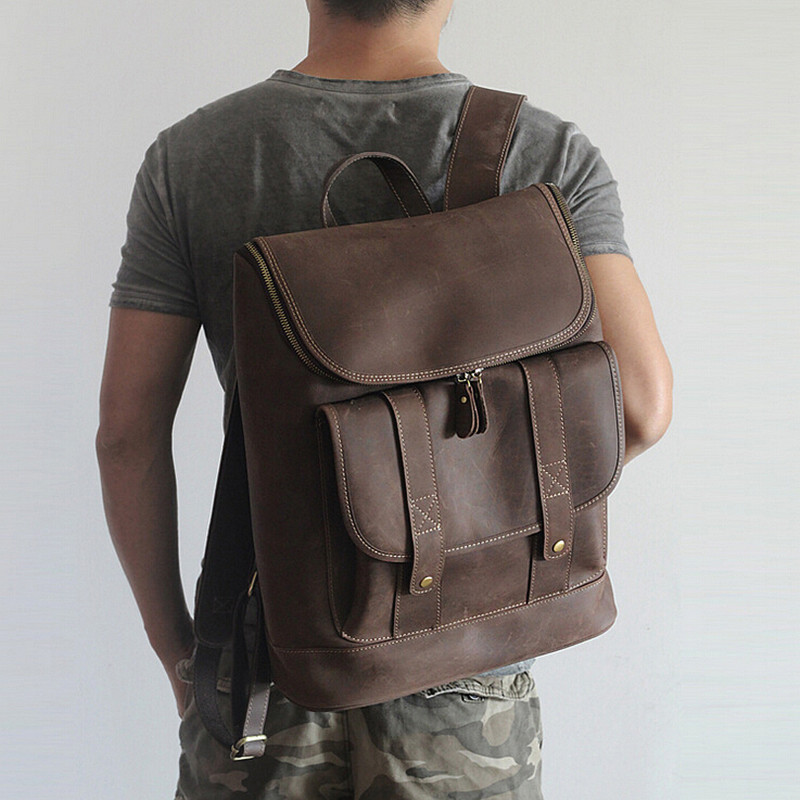 Unisex Backpack Genuine Leather Women/Men Travel Bags School Laptop Bags High Quality TravellerMood Teenager Backpack hot sale 2017 hot sale men 50l military army bag men backpack high quality waterproof nylon laptop backpacks camouflage bags freeshipping