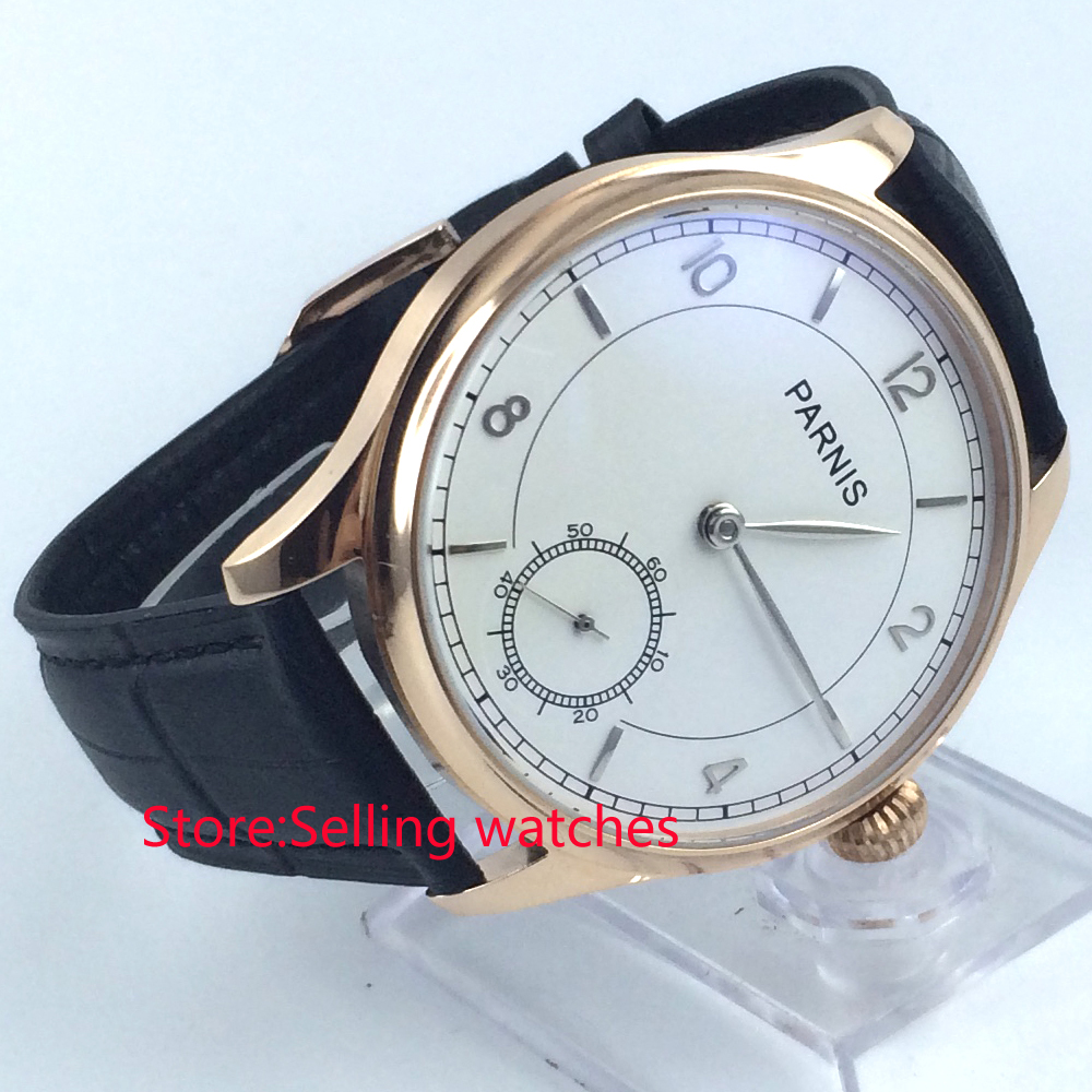 44mm parnis white dial rose case leather strap 6498 hand winding mens watch corgeut 44mm white dial rose golden case hand winding 6498 mens watch