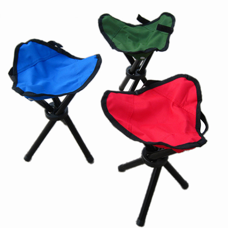 TELESCOPIC FOLDING STOOL collapsible camping hiking travel fishing chair red