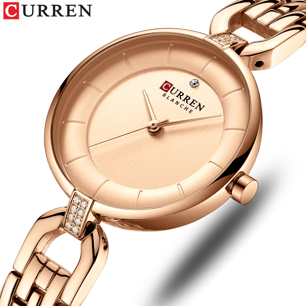 Rose Gold Watches Women CURREN Luxury Simple Quartz Bracelet Wrist Watch Women Watch Style Stainless Steel Band Clock 2019