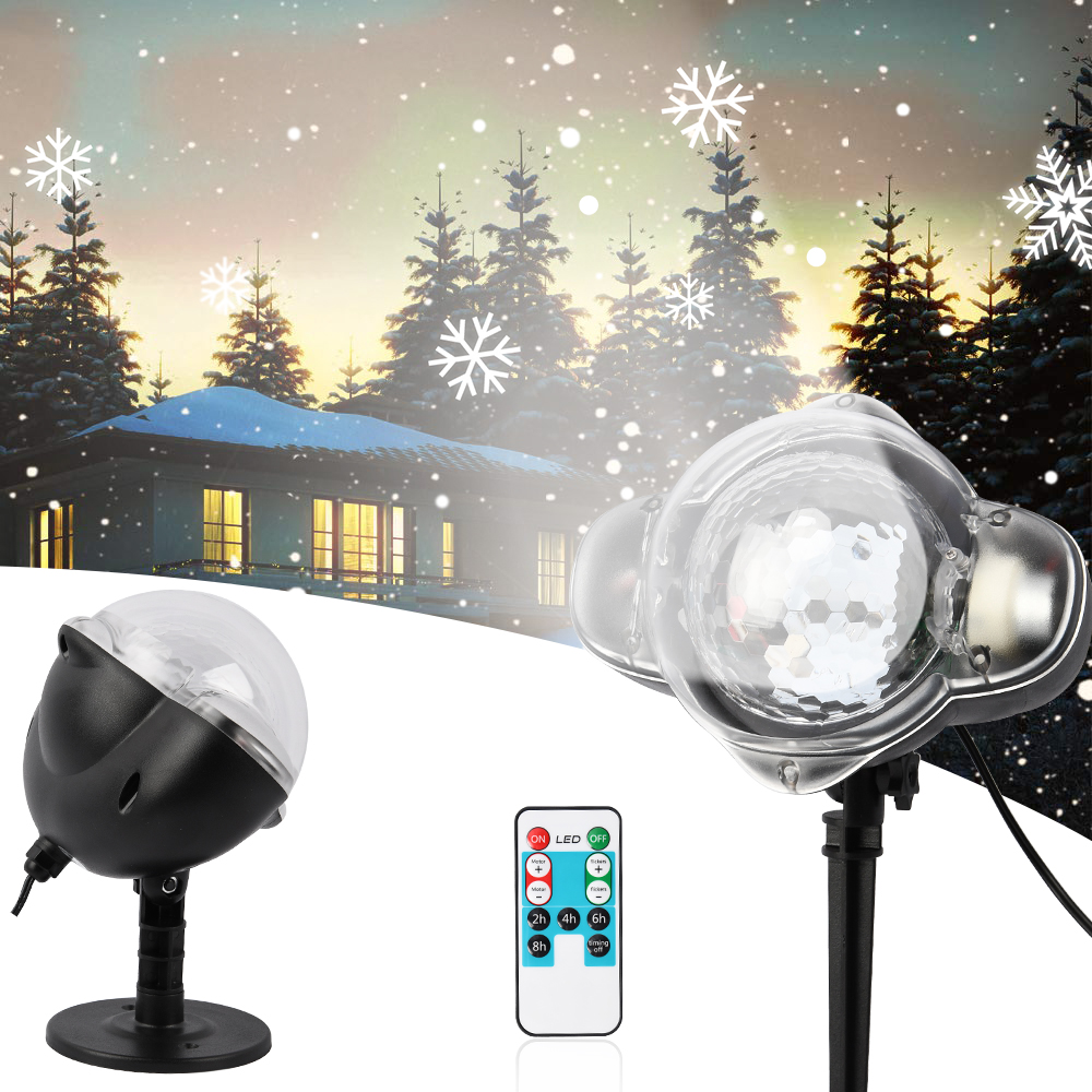 Led Christmas Lights Outdoor Snowfall Projector Light With Remote Control Wall Washer Spotlight Decorations For Home Party