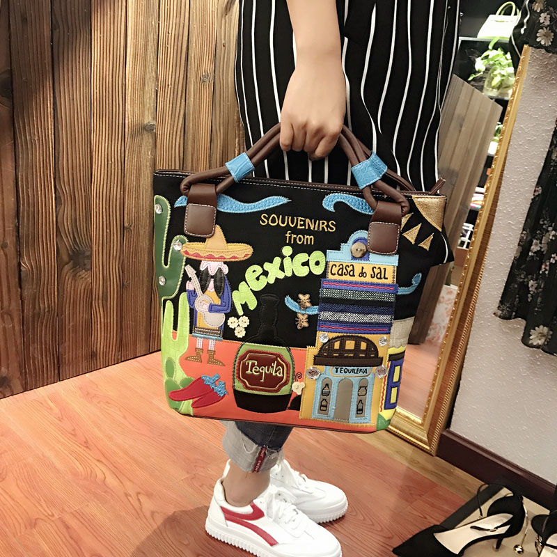Retro Canvas Bag Stitching Portable Messenger Bag Hand-Embroidered Wine Bottle Creative Embroidery Shoulder Bags contrast stitching embroidered pants