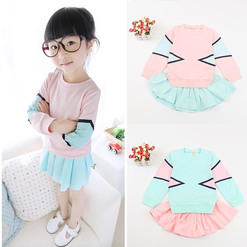 Nuevo desgaste de los niños primavera Niñas bebé puro fresco manga larga +  traje de falda corta niños Conjuntos de ropa rosa azul 334ff33001a5
