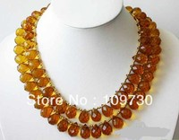 Jewelry 0012448 2ROW 17mm yellow NATURE drip faceted citrine NECKLACE