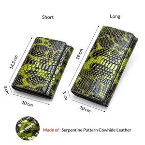 Image 2 - Monedero con diseño de serpiente a la moda para mujer, billetera larga de cuero genuino para mujer, monederos para teléfono para niña, tarjetero, bolso de mano tipo monedero