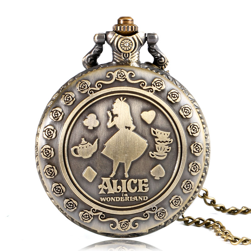Retro Bronze Alice in Wonderland Theme Cat Back Design Quartz Fob Pendant Pocket Watch with Necklace Chain for Girls Women alice in wonderland drink me tag rabbit quartz pocket watch gift set pendant necklace fob chain with gift box for women mens