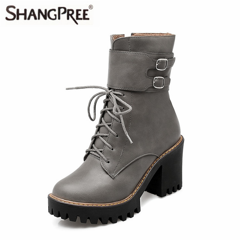 Shoes woman Autumn winter Fashion boots women buckle ladies shoes high heels round toe platform lace up ankle boots for wome pointed toe lace up women ankle boots fashion ladies autumn winter flat heels cuasual boots shoes woman motorcycle short booties