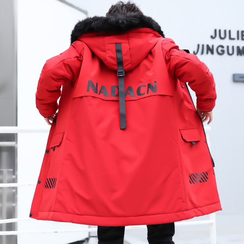Winter Men Jacket Male Outerwear Hooded Coat Snow Wear Long Men's Padded   Parka   Cotton Black Red 3XL