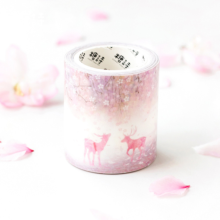 5cm*5m Deer in the Forest Washi Tape Adhesive Washi Tape For Painting Adhesive DIY Masking Tape Single Side Decorative Paper Tap aagu new arrival 15mm 5m 20pcs lot pineapple flamingo watermelon washi tape adhesive masking tape diy decorative paper tape
