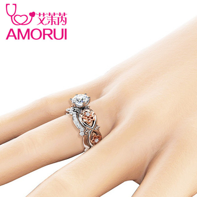 AMORU Rose Flower CZ Stone Wedding Rings for Women Jewelry Crystal Love Engagement Silver Ring Set Dropshipping Bague Femme Gift