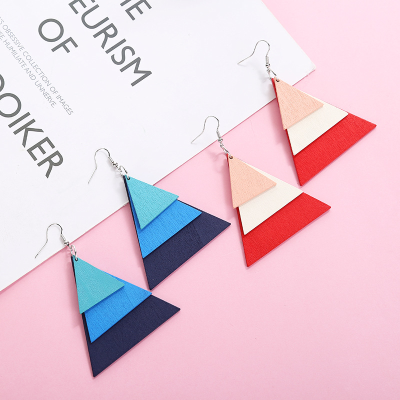 XZP 2019 Gradient Color Multilayer Equilateral Triangle Wooden Drop Earrings BOHO Geometric for Woman Jewelry Accessory Pendant in Drop Earrings from Jewelry Accessories