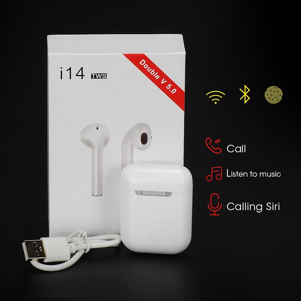 2019 i14 TWS 1:1 inalámbrico Bluetooth 5,0 Auriculares auriculares de Control táctil para iPhone Xiaomi airdot PK i13 i10 i12 i88