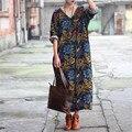 Vestidos dress 2017 mujeres del verano del resorte de lino dress v-cuello de la impresión del vintage three trimestre flojo hem dividir largo maxi dress d02