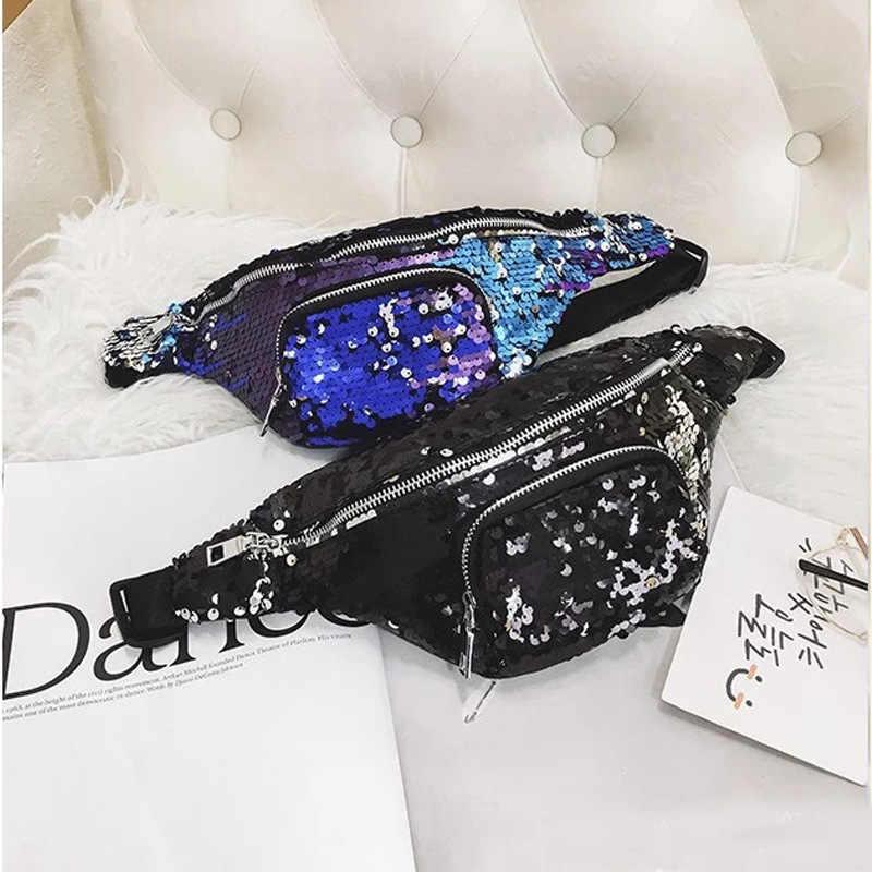 Waist pack Women men Unisex Casual Double Color shiny Sequins beltbag Unisex Waist fanny pack belt bags women 2018