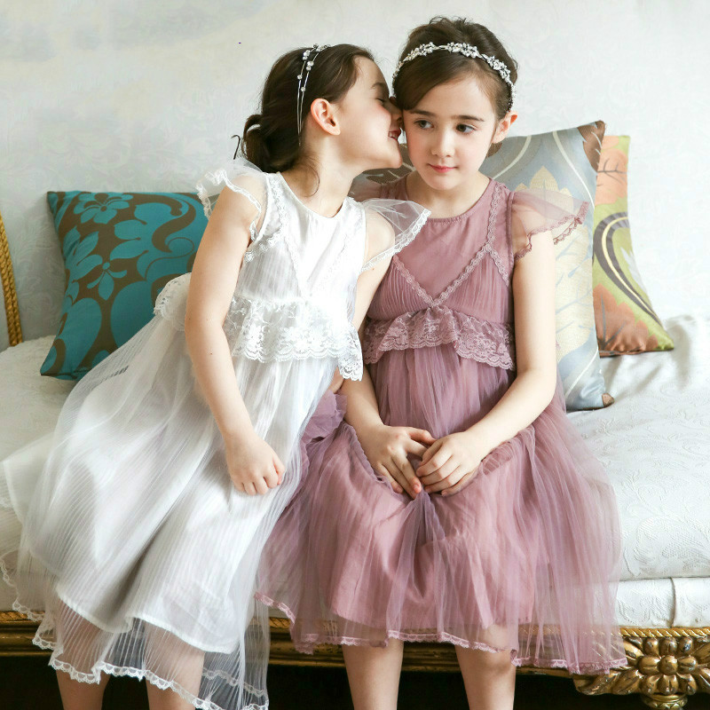 New 2017 Girls Voile Dress Kids Summer Princess Dress Ball Gown Beautiful Dress Children Lace Edge Layers Dress,3-12Y ball gown dresses princess vest lace dress 2017 summer new children lovely clothes girls strap voile dress embroidery and bead
