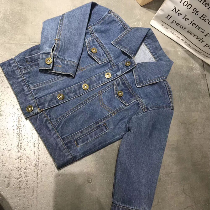 Kids Denim Jacket for Girls Windbreaker Child Jeans Coat Lapel Cardigan Embroidery Outwear Coat Boys Jackets notch lapel faux flap pocket texture cardigan