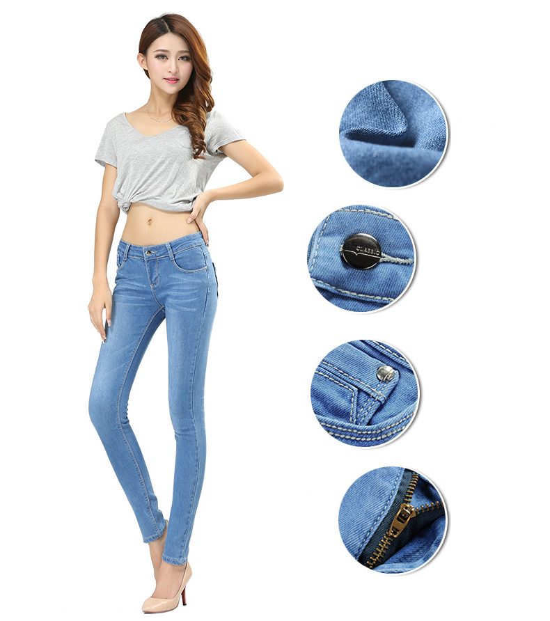 WQJGR Spring And Autumn Outfit Size Women Jeans Waist Slimming Feet Pencil Blue Women Jeans Women Long Pants 6