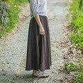 2016 mujeres Nacionales viento de verano sueltos de cintura elástica faldas hasta los tobillos faldas de impresión de lino del verano de Algodón de color sólido ocasional