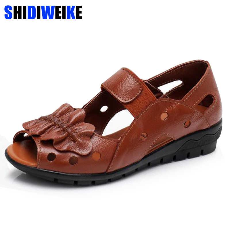 c407edd85b98 brand handmade genuine leather women sandals comfortable Wedges women  summer shoes mather gladiator sandals m938