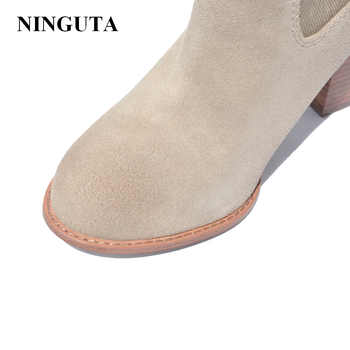 NIGUTA fashion ankle boots women autumn spring shoes woman denim and cow suede big size